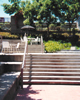 Stairway leading from patio of Beckman Bistro